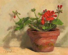 """""""Geranium Flower and Buds"""" - Original Fine Art for Sale - © Linda Jacobus"""