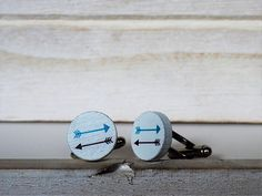 Arrows Cufflinks or Tie Tack Arrows Wood Cuff Links White