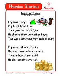 This Reading Comprehension Worksheet - Toys and Coins is for teaching reading comprehension. Use this reading comprehension story to teach reading comprehension.