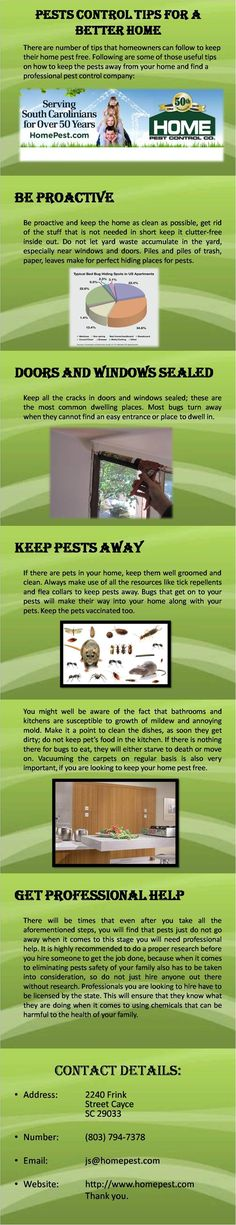 By following the aforementioned steps along with getting professional help, you will be living in a home that is free of annoying pests. For more information visit http://www.homepest.com