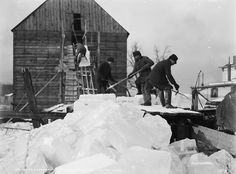 """Before refrigerators """"icemen"""" or """"ice cutters"""" would carve giant blocks of ice from frozen lakes and store the blocks in an insulated building for use throughout the year."""