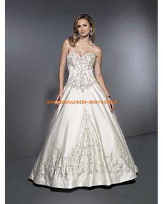 Maßgeschneiderte luxuriöse Brautkleider aus Satin A-Linie mit Nackhalter Stickerei auf Korsett und Rock