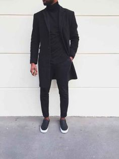 All Black Everything Style - BLVCK Fashion - Fashionboxx All Black Everything Outfit Wearing All Black, All Black Outfit, All Black Wardrobe Men, All Black Male Outfits, Black On Black Suit, Black Slip On Sneakers Outfit, Mens Slip On Sneakers, Women's Sneakers, Sneakers Women