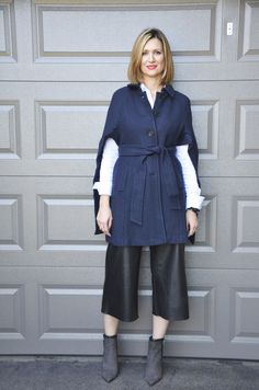 #Culottes & #Capes for transitioning into fall/winter. Ann Taylor Cape Pink Tartan Culottes