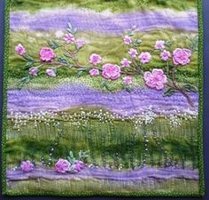 I ❤ quilting & ribbon embroidery . . . Quitled and Embellished Pillow ~By NickiLee