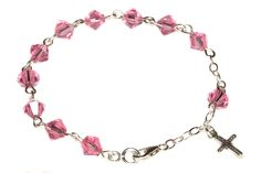 Sterling Silver Child Rosary Bracelet made with Rose Pink Swarovski Crystal elements * Read more reviews of the product by visiting the link on the image.