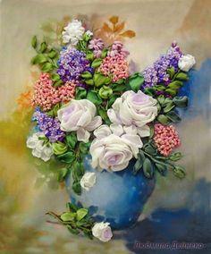 Gallery.ru / Букет с сиреневыми розами - Вышивка лентами часть 3 - silkfantasy