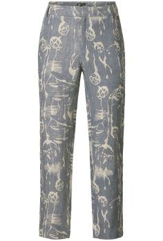 Loose fit print broek Grijsblauw