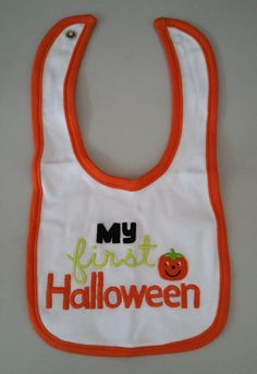 "ROCOO wholesale,Free Shipping 20pcs/lot Baby's ""MY first Halloween"" Bibs with Pumpkin Appliqued"