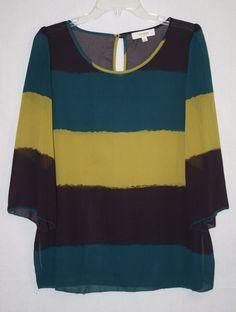 Umgee USA Sheer Color Block Tunic Blouse Large 3/4 Sleeve Women's Fashion Boho