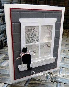 Monday, October 2015 Creative Lee Yours: Winter Window Kitty by Wendy Lee: Stampin' Up! Happy Scenes, Festive Fireside Framelits, Hearth & Home Thinlits Homemade Christmas Cards, Homemade Cards, Holiday Cards, Window Cards, Window Frames, Hearth And Home, Cat Cards, Stamping Up Cards, Animal Cards