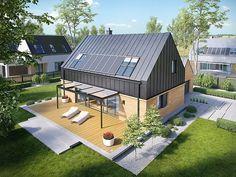 Projekt TDP-446 to dom, który dumnie prezentuje kwintesencję współczesnych trendów w architekturze. Na elewacji króluje nowoczesny duet blachy i drewna, który wspólnie z harmonią formy tworzy zjawiskowy efekt wizualny.