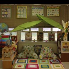 """Created this reading area in my classroom with LOVA canopy from IKEA (eBay). Rug and """"chairs"""" from Ross and Tinkerbell cutout from Half Price Books. Classroom Reading Area, Reading Nook Kids, Preschool Classroom, Future Classroom, Preschool Layout, Reading Areas, Preschool Rooms, Preschool Ideas, Kindergarten"""