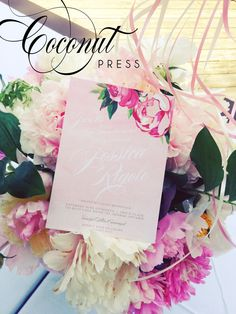 Pink, Ombre, & Floral High Tea Bridal Shower Invitations // Invitations by Coconut Press