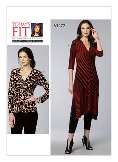 Vogue Patterns Misses' Twist-Front Tunic And Top (All Sizes) Pullover tunic and top (close-fitting through bust) have looped/twisted front. Vogue Sewing Patterns, Sewing Clothes, Dress Patterns, Tunic Tops, Neckline, Pullover, Note, Envelope, Sleeves