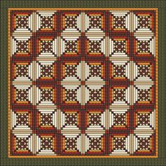 """Ohio Star in Log Cabin - Quilt pattern - King Size: 103"""" x 103"""""""