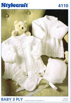 Stylecraft 4110 baby matinee coat bonnet set vintage knitting pattern Listing in the Ladies DK,Patterns,Knitting & Crochet,Crafts, Handmade & Sewing Category on eBid United Kingdom