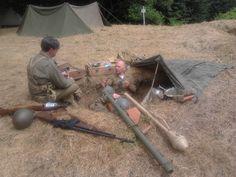 Passo del Giogo, ricostruzione di un campo di battaglia della 2ª Guerra Mondiale.. postazione di soldati americani.