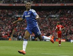 Chelsea's Didier Drogba reacts as he celebrates after scoring a goal against Liverpool during the English FA Cup Final, Saturday, May Fa Cup Final, Chelsea Football, Stamford Bridge, Champions League, Munich, Liverpool, Finals, Sports, Athletes