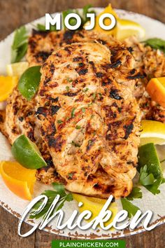 Mojo Chicken Marinade - easy smoky citrus marinade made with lemon juice, lime juice, orange juice, garlic, oregano, cumin, bay leaf, salsa, olive oil, salt, and pepper. Great as a main dish or chopped up in tacos, fajitas, salads, or in sandwich wraps. We love this Mexican chicken recipe! Recipe from Los Barrios Restaurant in San Antonio, TX. #chicken #mexican #glutenfree #lowcarb #texmex