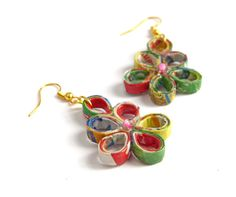 Colorful Drops Earrings Recycled Paper Eco-Friendly Lightweight