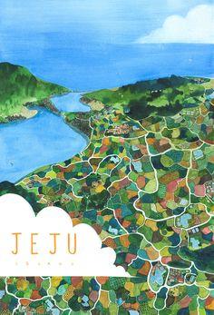 제주도 at Jeju island, Republic of Korea - 일러스트레이션 Isla Jeju, Map Design, Graphic Design, Tea Illustration, Jeju Island, 3d Drawings, Illustrations And Posters, Map Art, Illustrators