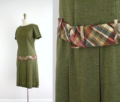 1960's drop waist dress with plaid belt