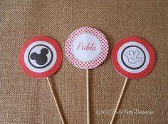 Kit de decoración personalizada Minnie y Mickey Mouse #mickeymouse #partyideas