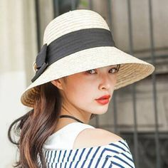 Fashion UV bow straw sun hat for women summer wide bimmed bowler hats Hat  Stores 1e2e5c506