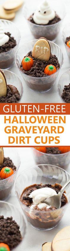 Halloween Graveyard Dirt Cups! Everyone loves these spooky treats! (Gluten-Free, Vegan)