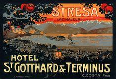 Vintage Italian luggage label:  Stresa (italy). www.italianways.com/ernests-hotel-in-stresa/