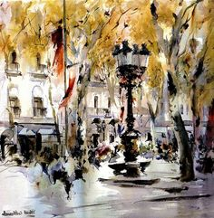 by Marti Laurentino Watercolor Canvas, Watercolor And Ink, Watercolor Paintings, Watercolors, Pen And Wash, Marti, Painter Artist, City Scene, Sketch Painting