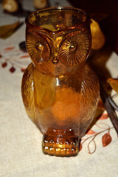Fab vintage amber gold owl pitcher by VtgHawaiianBeauty on Etsy