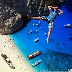 Base Jumping at Shipwreck Beach, Zakynthos Island, Greece..