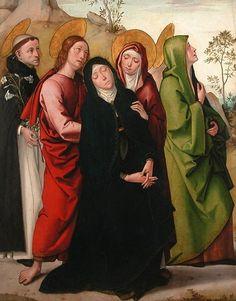 'The Virgin, Saint Dominic de Guzman, Saint John the Evangelist', painting by Juan de Borgoña, c. 1515, the Louvre