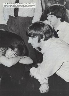 John, Ringo, & Paul watching TV in their dressing room at the Brighton Hippodrome.