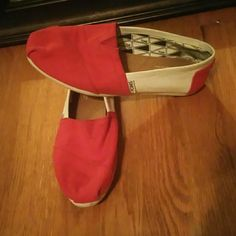 Red and White Toms Bought them because they are the Huskers colors but still very comfortable. Had them for a while and havent worn them as much as i thought i would TOMS Shoes Flats & Loafers