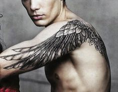 Angel wing tattoos for men are some of the most popular tattoos today. These tattoos have been worn for many years and their history dates back to many years and this can be attributed to… Wing Tattoo Arm, Wing Tattoos On Back, Neck Tattoo For Guys, Angle Tattoo For Men, Angle Wing Tattoos, Men Back Tattoos, Wing Tattoos For Men, Upper Arm Tattoos For Guys, Tatto For Men