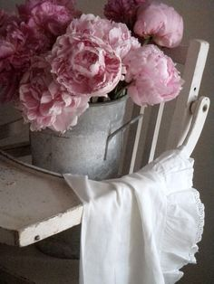just love the rustic surroundings of the peonies