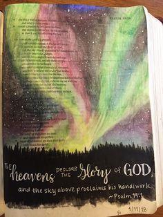 Bible Journaling, Psalm 19:1-gelatos, Black acrylic paint, white gel pen