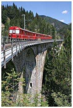 Rhätische Bahn , Davos Wiesen (GR) - Wiesener Viadukt (1909), Switzerland