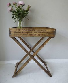 wooden butler's tray table by cooper rowe vintage living | notonthehighstreet.com