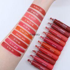 Glamorous lip products trending now. Korean Makeup Tips, Asian Makeup, Kawaii Makeup, Cute Makeup, Makeup Swatches, Kiss Makeup, Lip Tint, Aesthetic Makeup, Makeup Brands