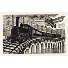 © Victoria and Albert Museum. Illustration, by Eric Ravilious (Print On Demand) from the V & A Code VA825578 Illustration, by Eric Ravilious (1903-42), showing a train and an aeroplane, from the publication The Handsom Cab and the Pigeons, by L.A.G Strong (1896-1958). Wood engraving. UK, 1935.