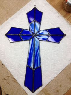 Stained glass cross by AcrossTheTable on Etsy: