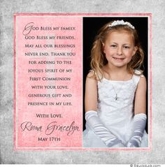 Split Single Vertical Photo Custom Communion Thank You Layout Card Square Photos Anniversary Invitations