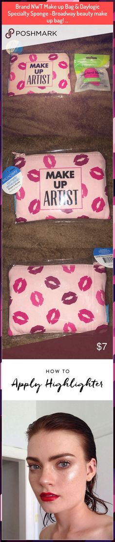 Brand NWT Make up Bag & Daylogic Specialty Sponge -Broadway beauty make up bag! … Brand NWT Make up Bag Highlighter Makeup, Beauty Make Up, How To Apply, How To Make, Sunglasses Case, Broadway, Bags, Illuminator Makeup, Handbags