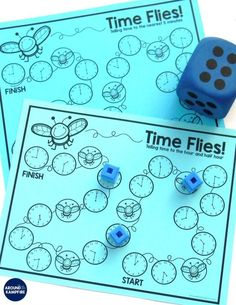 This FREE hands-on telling time game is a hands-on way for first, second, and third graders to work on time. A great way to teach them time to the hour/half hour, quarter hour, and the nearest 5 minutes. Telling Time Games, Telling Time Activities, Activities For Teens, Teaching Time, Free Teaching Resources, Preschool Activities, Teaching Ideas, Time To The Hour, Elapsed Time