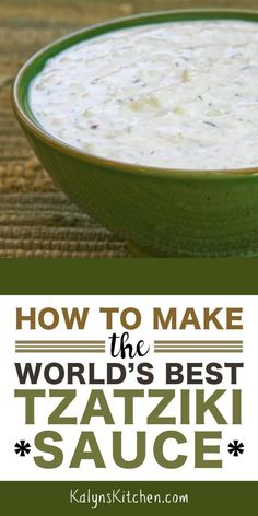 This post shows you How to Make the World's Best Tzatziki Sauce; this delicious white Greek yogurt and cucumber sauce is often served with Greek Food! Sauce Recipes, Keto Recipes, Cooking Recipes, Healthy Recipes, Greek Food Recipes, Dill Recipes, Dinner Recipes, Healthy Dips, Healthy Nutrition