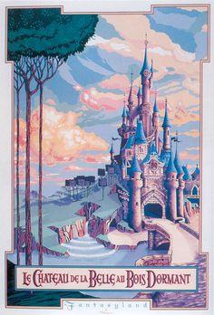 Poster - Sleeping Beauty Castle - Disneyland Paris - Robin is Life Disney Magic, Art Disney, Disney Kunst, Disney Movies, Disney Pixar, Posters Disney Vintage, Retro Disney, Vintage Cartoons, Disneyland Paris Attractions